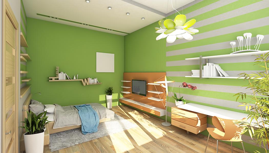 Quarto decorado e pintado de verde