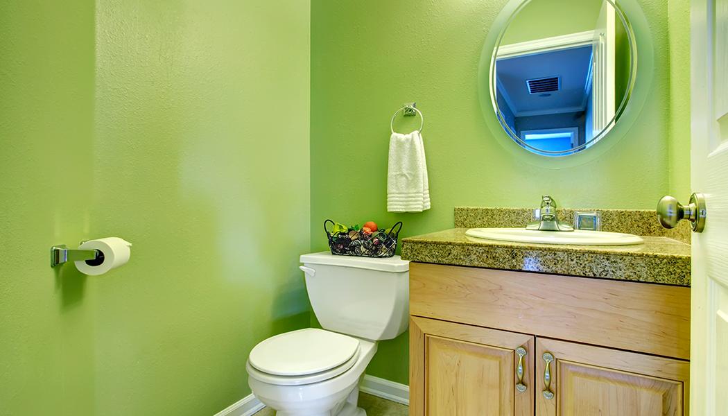 Banheiro com paredes verdes