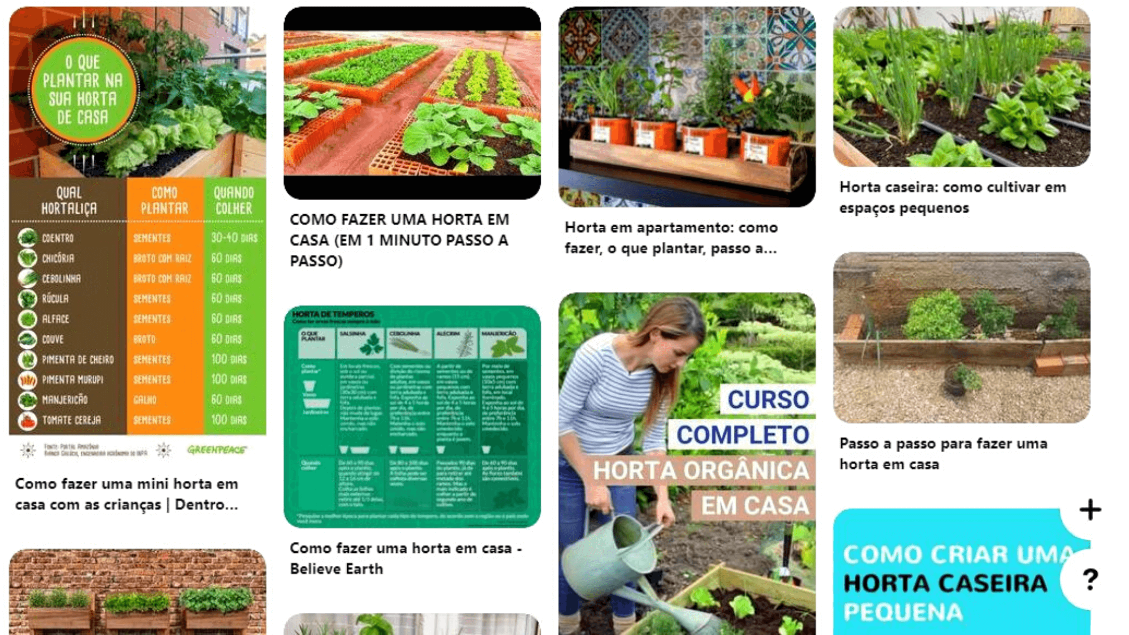 Exemplo de pesquisa no Pinterest